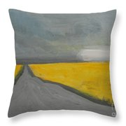 Rural Road Trough Canola Field Throw Pillow