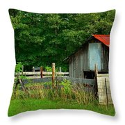 Rural Serenity - Red Roof Barn Rustic Country Rural Throw Pillow