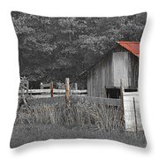 Rural Serenity Black And White Version - Red Roof Barn Rustic Country Rural Throw Pillow