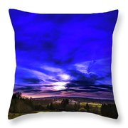 Rural Sunset Panorama Throw Pillow