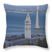 Rush Hour Above The Ferry Building Throw Pillow