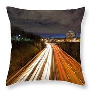 Rush Hour Light Trails Throw Pillow