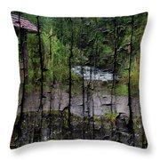 Rushing Cascade In The Andes - On Bark Throw Pillow