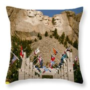 Rushmore State Flags Throw Pillow