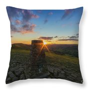 Rushup Edge From Mam Tor Summit Sunset Throw Pillow