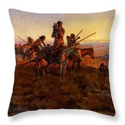 Russell Charles Marion In The Wake Of The Buffalo Hunters Throw Pillow