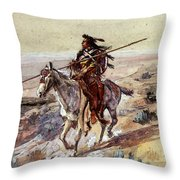 Russell Charles Marion Indian With Spear Throw Pillow