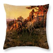 Russell Charles Marion Watching For Wagons Throw Pillow