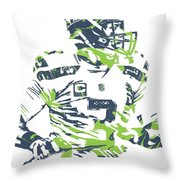 Russell Wilson Seattle Seahawks Pixel Art 10 Throw Pillow