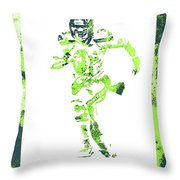Russell Wilson Seattle Seahawks Water Color Art 1 Throw Pillow