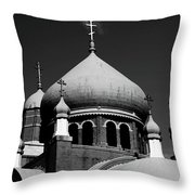 Russian Orthodox Church Bw Throw Pillow