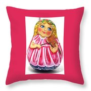 Russian Roly Poly Doll Music Doll Throw Pillow