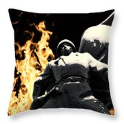 Russian Soldier Statue In Snow And Fire Throw Pillow