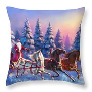 Russian Three-horse Throw Pillow