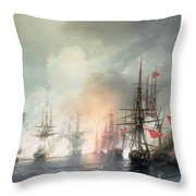 Russian Turkish Sea Battle Of Sinop Throw Pillow by Ivan Konstantinovich Aivazovsky
