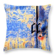 Rusted Blue And Yellow Door Throw Pillow