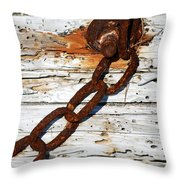 Rusted Chain On Driftwood Throw Pillow