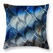 Rusted Fence With Blue Paint Throw Pillow