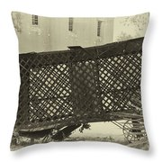 Rusted Horse Drawn Paddy Wagon Throw Pillow