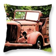 Rusted Mack Fire Engine Throw Pillow