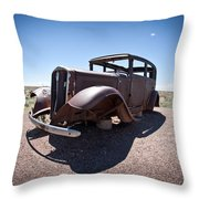 Rusted Old Car On Route 66 Throw Pillow