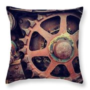 Rusted Tractor Wheel Throw Pillow