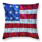 Rustic American Flag Throw Pillow