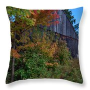 Rustic Barn Above The Fall Colors Throw Pillow