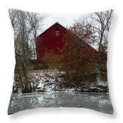 Rustic Barn By The Frozen Lake Throw Pillow