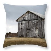 Rustic Barn With Dark Clouds Throw Pillow