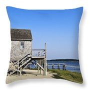 Rustic Boathouse On The Beach. Throw Pillow