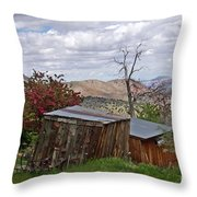 Rustic Cabins On A Hillside Throw Pillow by Patricia Strand
