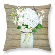 Rustic Country White Hydrangea N Matillija Poppy Mason Jar Bouquet On Wooden Fence Throw Pillow