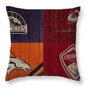Rustic Denver Sports Teams Throw Pillow