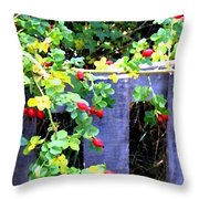 Rustic Fence And Wild Rosehips Throw Pillow