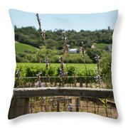 Rustic Fence In Wine Country Throw Pillow