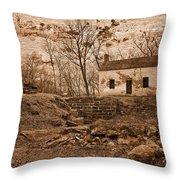 Rustic Lockhouse Mural Throw Pillow