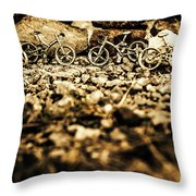 Rustic Mountain Bikes Throw Pillow