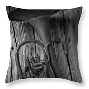 Rustic Old Horn Throw Pillow