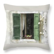 Rustic Open Window With Green Shutters Throw Pillow