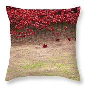Rustic Poppy Garden Throw Pillow