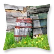 Rustic Rain Barrel At Old World Wisconsin Throw Pillow