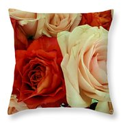Rustic Rose Bouquet Throw Pillow