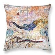 Rustic Seahorse Throw Pillow