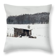 Rustic Shed In The Winter Throw Pillow