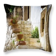 Rustic Steps In Crete Throw Pillow