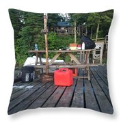 Rustic Summer Dock Throw Pillow