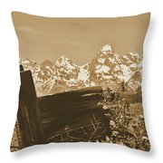 Rustic View Of Grand Teton Throw Pillow