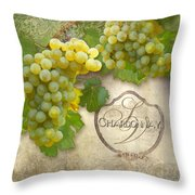 Rustic Vineyard - Chardonnay White Wine Grapes Vintage Style Throw Pillow