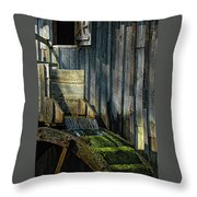 Rustic Water Wheel With Moss Throw Pillow